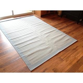 Beige Light Blue Pool Patio Deck Area Rug Area Rug (6'6 X 9'3)