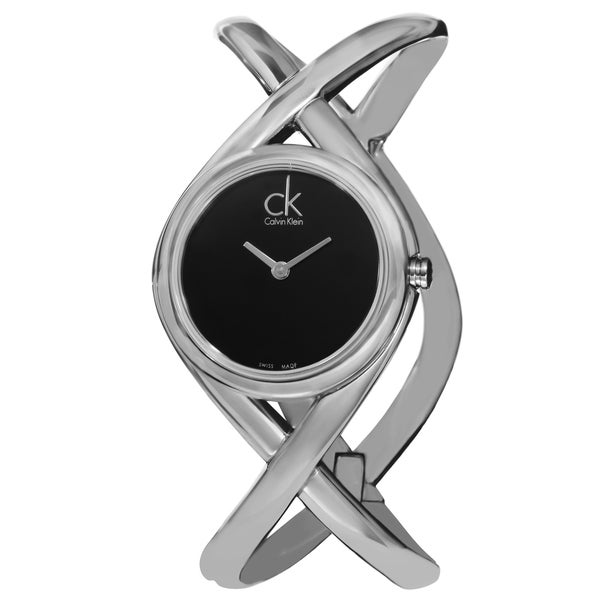 Calvin Klein Women's K2L24102 'Enlace' Black Dial Stainless Steel Small Bangle Watch 15486058