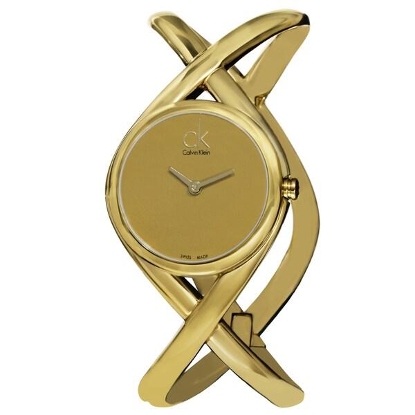 Calvin Klein Women's K2L23509 'Enlace' Goldtone Dial Goldtone Stainless Steel Medium Bangle Watch 15486060