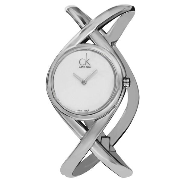 Calvin Klein Women's K2L23120 'Enlace' Silver Dial Stainless Steel Medium Bangle Watch 15486061