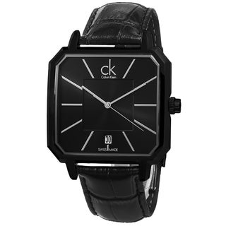 Calvin Klein Men's K1U21402 'Concept' Black Dial Black Leather Strap Swiss Quartz Watch