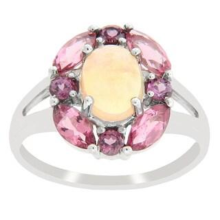 Sterling Silver Opal Pink Tourmaline and Rhodolite Garnet Ring