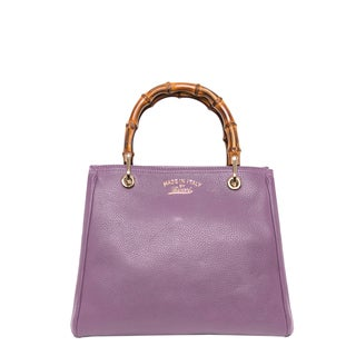 Gucci Leather Small Lilac Bamboo Shopper