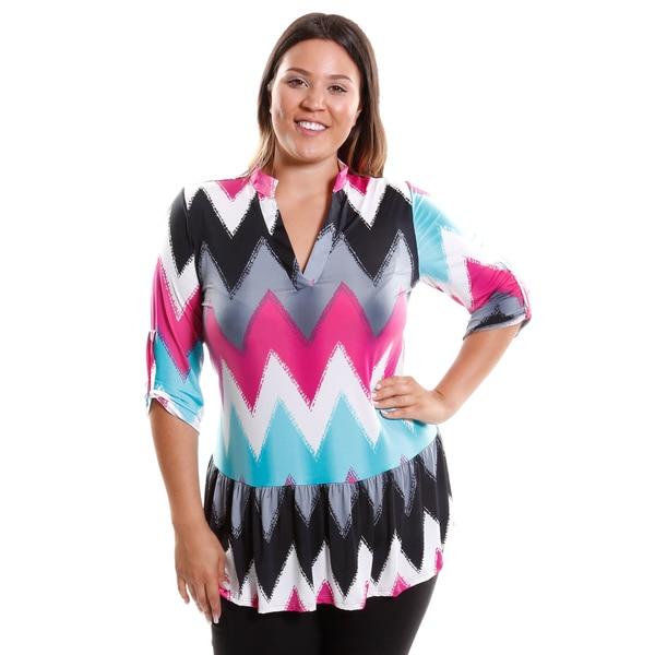 Hadari Women's Plus Size Off Shoulder Grafic Tunic