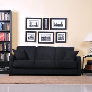 Better Living Trace Black Microfiber Convert-a-Couch Sofa Sleeper