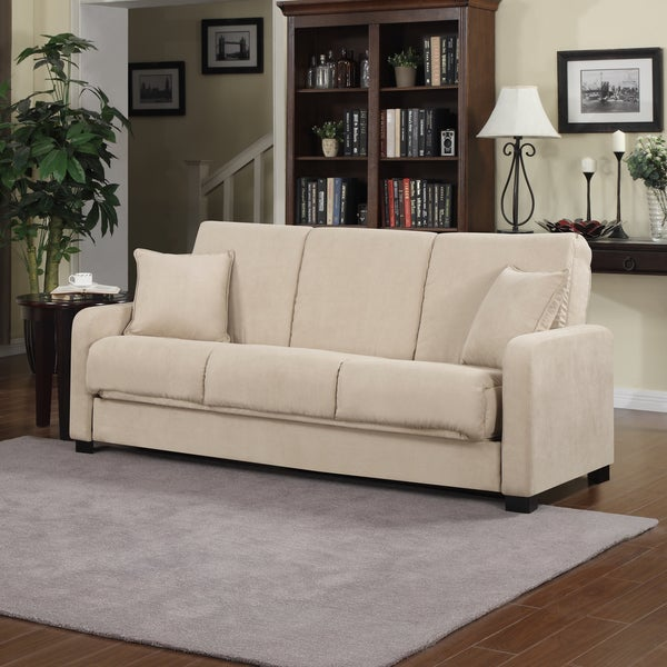 Better Living Trace Khaki Tan Microfiber Convert-a-Couch Sofa Sleeper