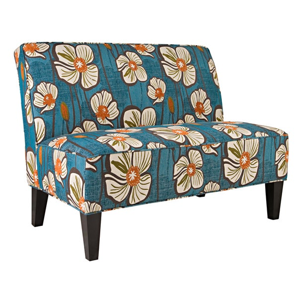 Better Living Madigan Blue and Orange Floral Armless Settee