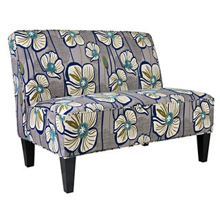Portfolio Madigan Grey and Turquoise Floral Armless Settee