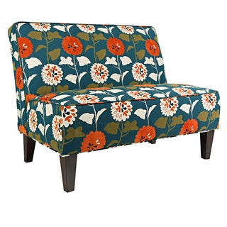 Better Living Madigan Orange and Blue Flowers Armless Settee