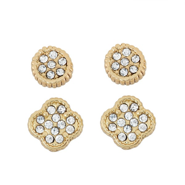 14KT Gold Plated Clover and Dial Crystal Studded Earring Set