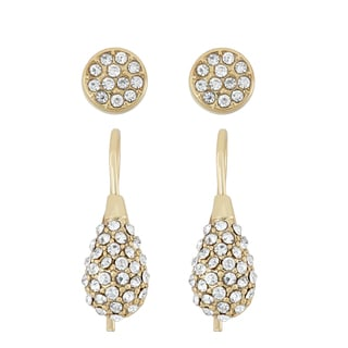 Isla Simone 14KT Gold Plated Round Stud and Swirl Crystal Earring Set