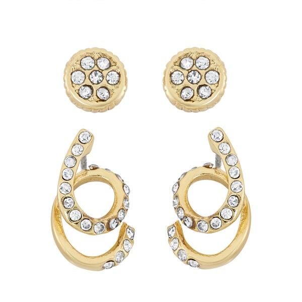 Facet Nation 14k Gold Plated Round Stud and Swirl Crystal Earring Set