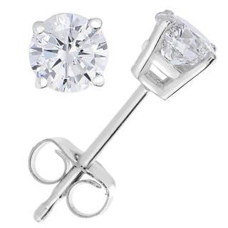 14k White Gold 1ct TDW Certified Diamond Stud Earrings (I-J, I2-I3)