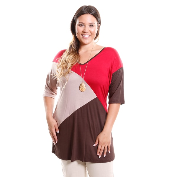 Hadari Women's Plus Size Colorblock V-Neck Top