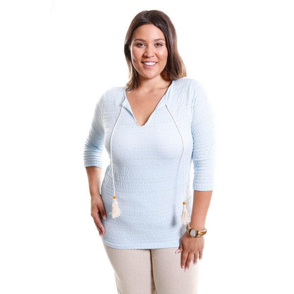 Hadari Women's Plus Size 3/4 Sleeve Basic Knit Top