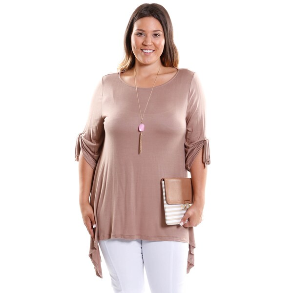 Hadari Women's Plus Size 3/4 Sleeve Scoopneck Knit Tunic