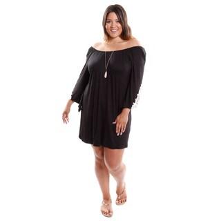 Hadari Women's Plus Size Bell Sleeve Lace Trim Plus Dress