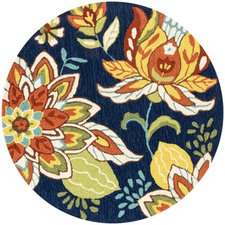 Hand-hooked Charlotte Blue/ Floral Round Rug (3'0 Round)