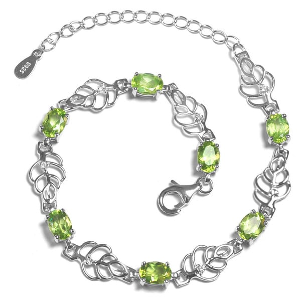 De Buman Genuine Peridot and White Topaz 925 Silver Bracelet 15486443