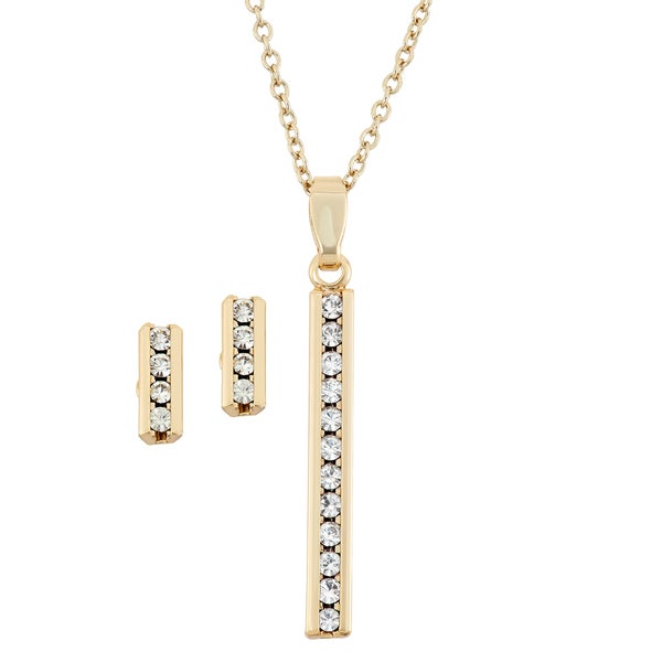 Facet Nation 14KT Gold Plated Channel Set Earring and Vertical Bar Pendant Necklace