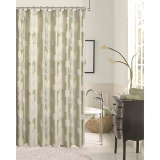 Dainty Home Modern Sage Flower Shower Curtain with Lurex