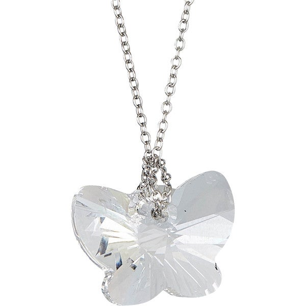 Sterling Silver Chain with Crystal Swarovski Butterfly Pendant