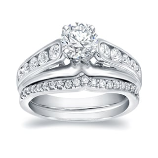 Auriya 14k White Gold 1 1/4ct TDW Round Diamond Bridal Ring Set (H-I, VS1-VS2)