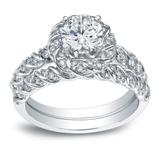 Auriya 14k White Gold 1 3/5ct TDW Round-Cut Diamond Rope Style Halo Bridal Ring Set (I-J, I1-I2)