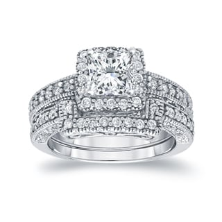 Auriya 14k White Gold 1 1/2ct TDW Princess-Cut Diamond Square Halo Bridal Ring Set (I-J, I1-I2)