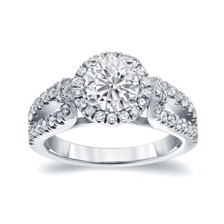 Auriya 14k White Gold 1 1/2ct TDW Round Cut Diamond Halo Engagement Ring (I-J, I1-I2)