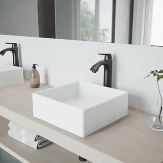 VIGO Bavaro Composite Vessel Sink and Linus Bathroom Vessel Faucet in Antique Rubbed Bronze w/ Pop up