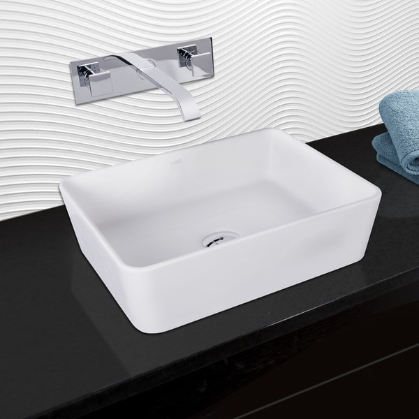 VIGO Sirena Composite Vessel Sink and Titus Chrome Finish Dual Lever Wall Mount Faucet