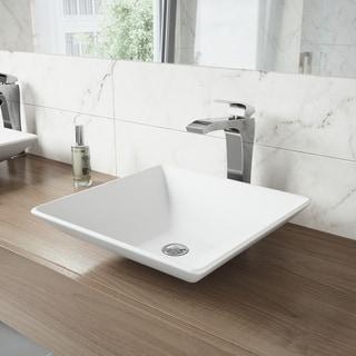 VIGO Matira Composite Vessel Sink and Blackstonian Bathroom Vessel Faucet in Chrome