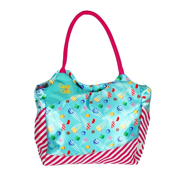 Candy Crush Pretty Pink Striped Shoulder Tote