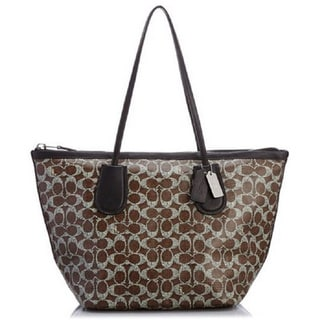 Coach Signature Coated Canvas Linen Taxi Tote
