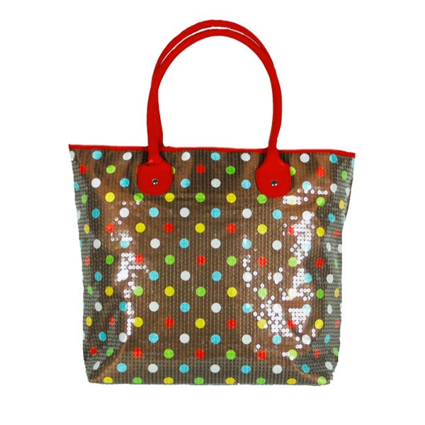 Candy Crush Beaded Brown Polka Dot Tote Bag