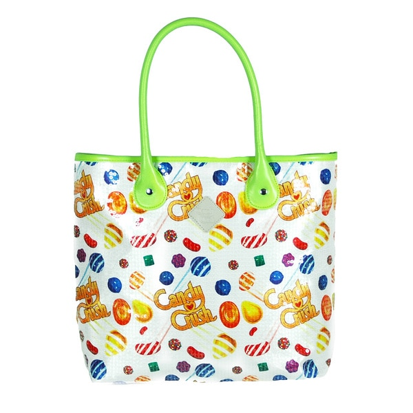 Candy Crush White/ Lime Beaded Tote Bag