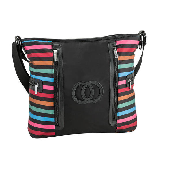 Multicolor Stripe Nylon Carriage Tote Bag