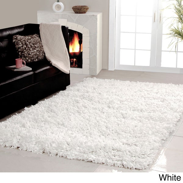 White area rug living rum bedroom flooring decor shag cozy home decor 5x8 new ebay - Cozy white shag rug for the comfortable steps sensation ...