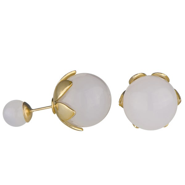 Brass Front Back Simulated Pearl Leaf Stud Earrings