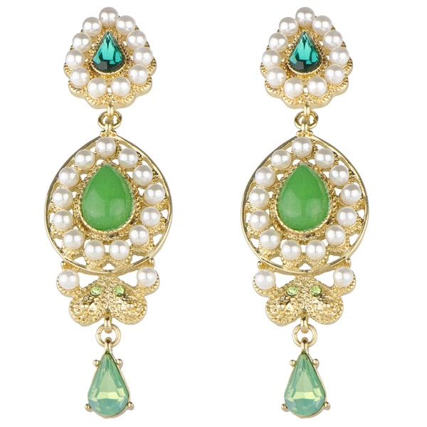 Green Brass Bollywood Simulated Pearl Drop Earrings