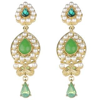Green Brass Bollywood Simulated Pearl Drop Earrings