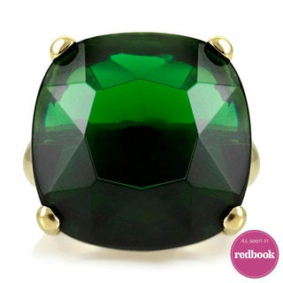 Brass Green Cubic Zirconia Cocktail Ring