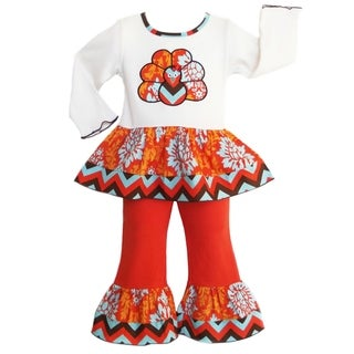 AnnLoren Girls' Autumn Damask/ Chevron Turkey 2-piece Outfit