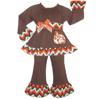 AnnLoren Girls' Brown Cotton Knit Pumpkin 2-piece Outfit