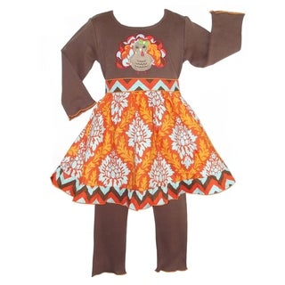AnnLoren Girls' Damask Thanksgiving Turkey 2-piece Dress/ Leggings Outfit