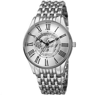 August Steiner Men's Quartz Buffalo Nickel Coin Dial Silver-Tone Bracelet Watch - silver