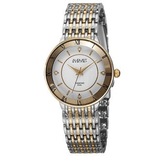 August Steiner Women's Japanese Quartz Roman Numerals Genuine Diamond Bracelet Watch