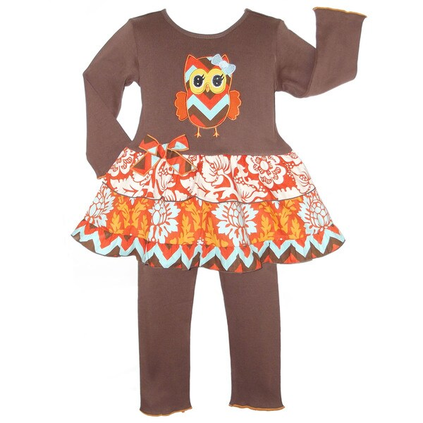AnnLoren Girls' Boutique Autumn Owl Dress/ Legging 2-piece Outfit