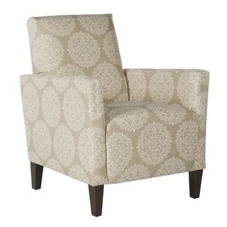 Portfolio Gia Cream and Tan Scroll Arm Chair